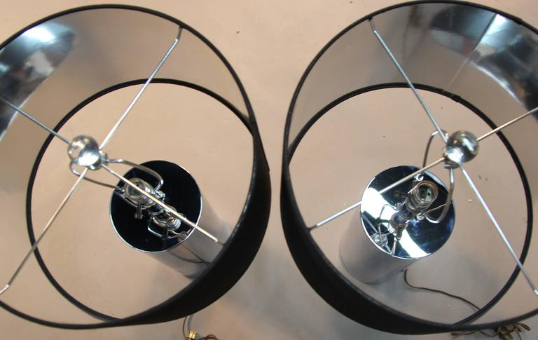 American Pair of Vintage Chrome Tube Lamps