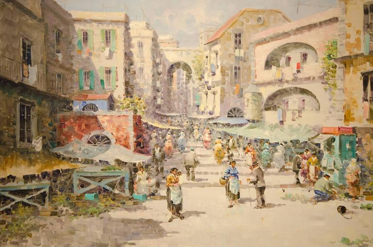 large vintage italian market scene painting for sale at 1stdibs