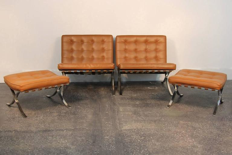 Pair of Mies Van De Rohe Barcelona Chairs with Matching Ottomans for Knoll 4
