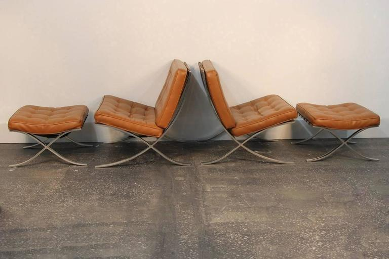 Pair of Mies Van De Rohe Barcelona Chairs with Matching Ottomans for Knoll 3