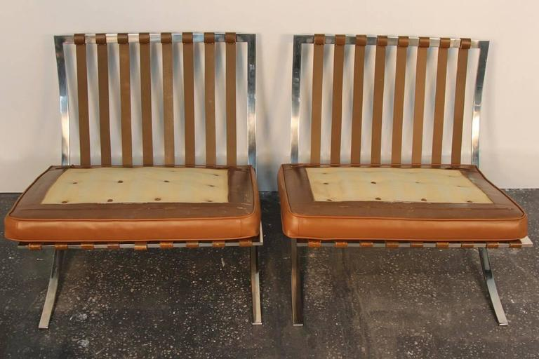 Pair of Mies Van De Rohe Barcelona Chairs with Matching Ottomans for Knoll 7