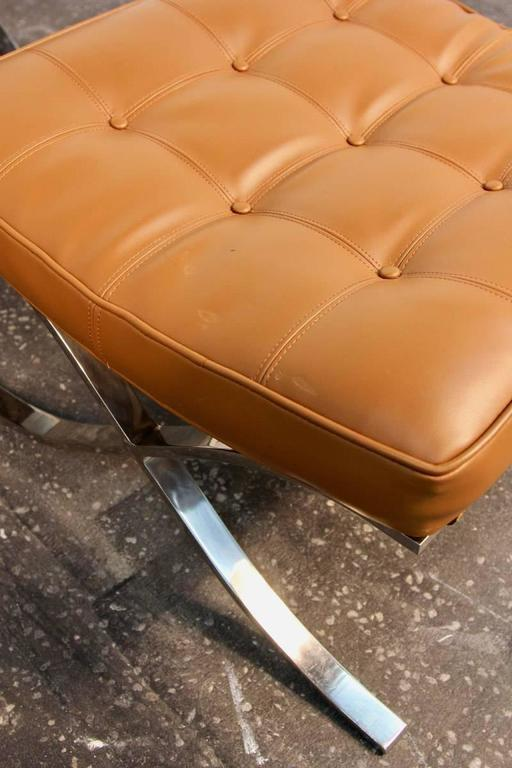 Pair of Mies Van De Rohe Barcelona Chairs with Matching Ottomans for Knoll 10