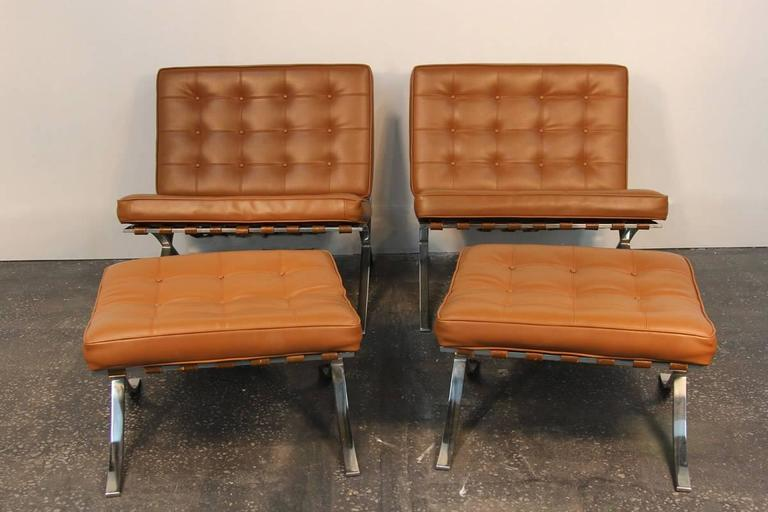 Pair of Mies Van De Rohe Barcelona Chairs with Matching Ottomans for Knoll 2