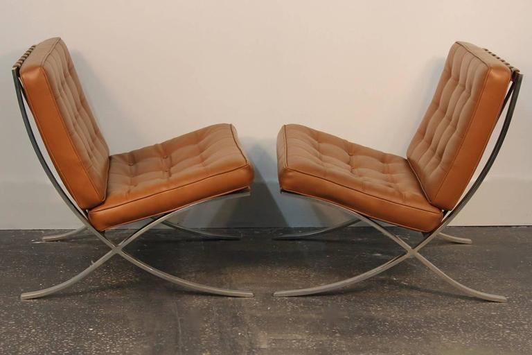 Pair of Mies Van De Rohe Barcelona Chairs with Matching Ottomans for Knoll 5