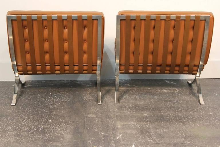 Pair of Mies Van De Rohe Barcelona Chairs with Matching Ottomans for Knoll 6