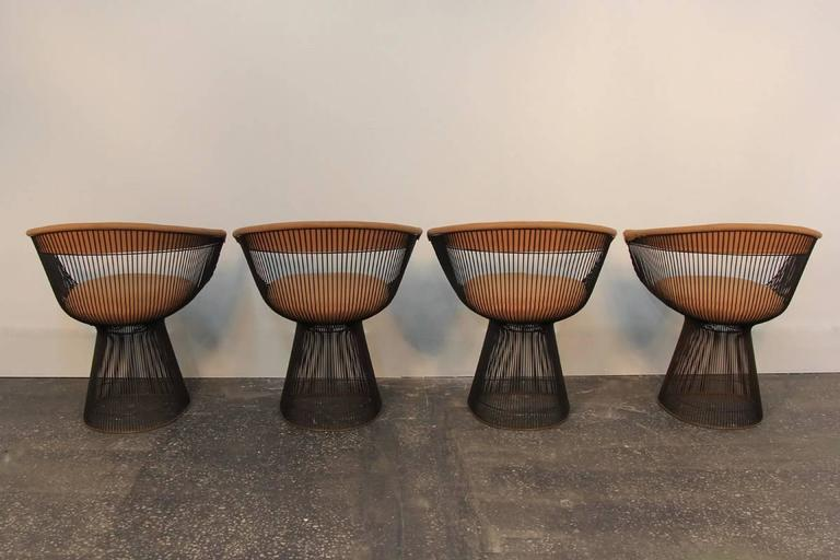 Mid-Century Modern Set of Four Original Bronze Warren Platner Side Chairs For Sale