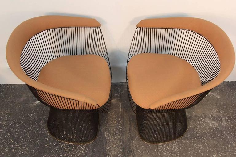 Mid-20th Century Set of Four Original Bronze Warren Platner Side Chairs For Sale