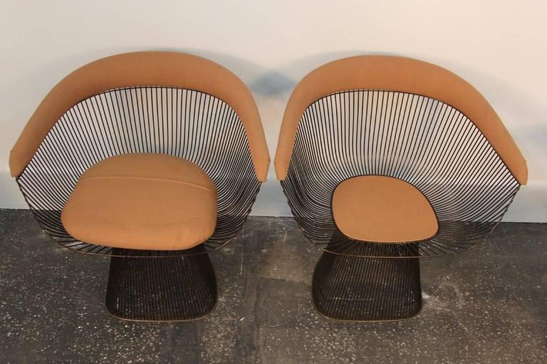 Set of Four Original Bronze Warren Platner Side Chairs 5