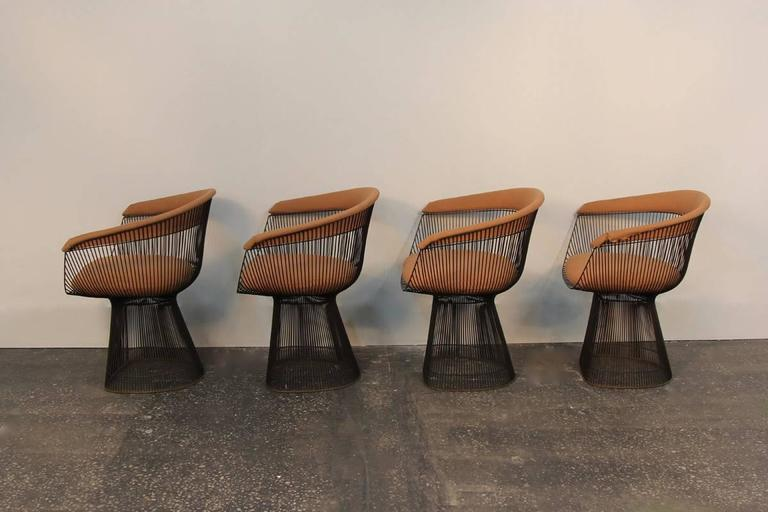 Set of Four Original Bronze Warren Platner Side Chairs 4