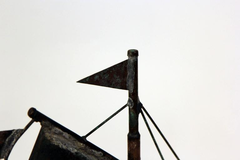 Vintage Copper Ship Weather Vane For Sale 1