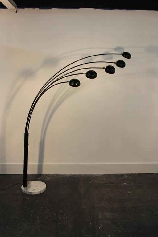 Five Head Black Spider Arc Lamp For Sale At 1stdibs