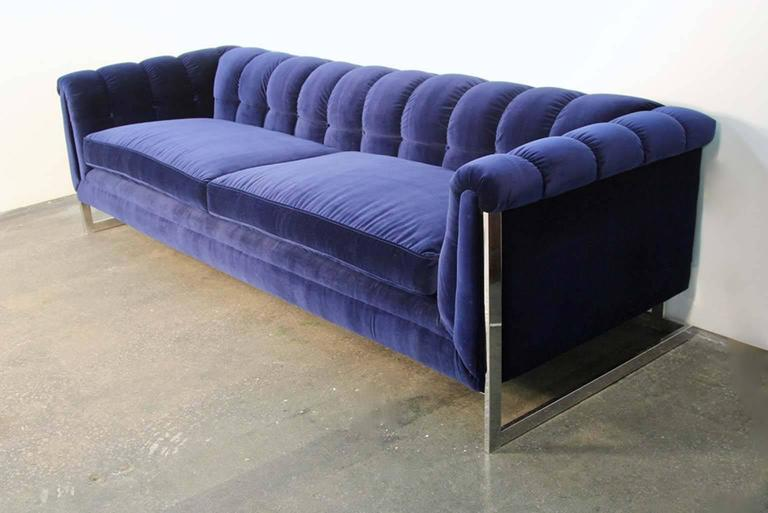 blue velvet tufted back chrome frame mid century modern sofa for sale at 1stdibs. Black Bedroom Furniture Sets. Home Design Ideas