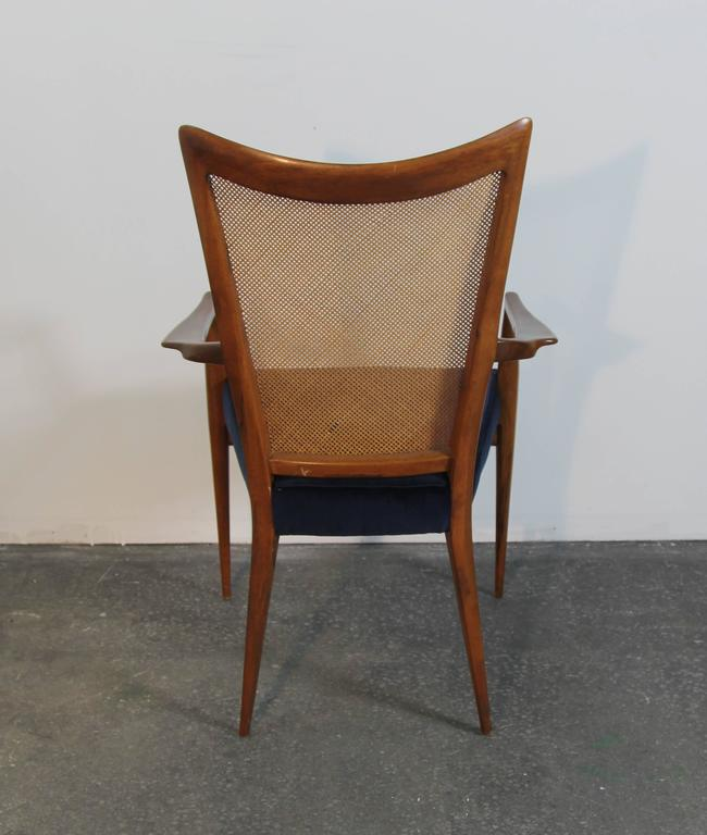 Set of Six Erno Fabry Dining Chairs Newly Upholstered Navy Velvet In Good Condition For Sale In Norwalk, CT