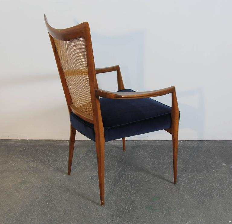 Mid-20th Century Set of Six Erno Fabry Dining Chairs Newly Upholstered Navy Velvet For Sale