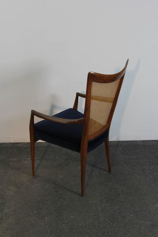 Set of Six Erno Fabry Dining Chairs Newly Upholstered Navy Velvet For Sale 2