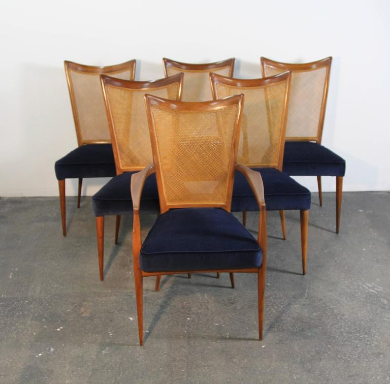 Set of six Erno Fabry dining chairs, newly upholstered with navy velvet seats. Caned back, two armchairs and four side chairs, amazing style.
