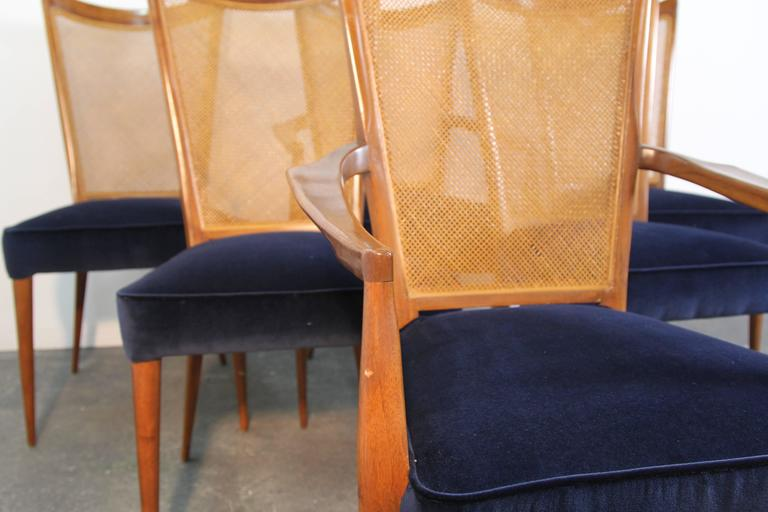 Mid-Century Modern Set of Six Erno Fabry Dining Chairs Newly Upholstered Navy Velvet For Sale