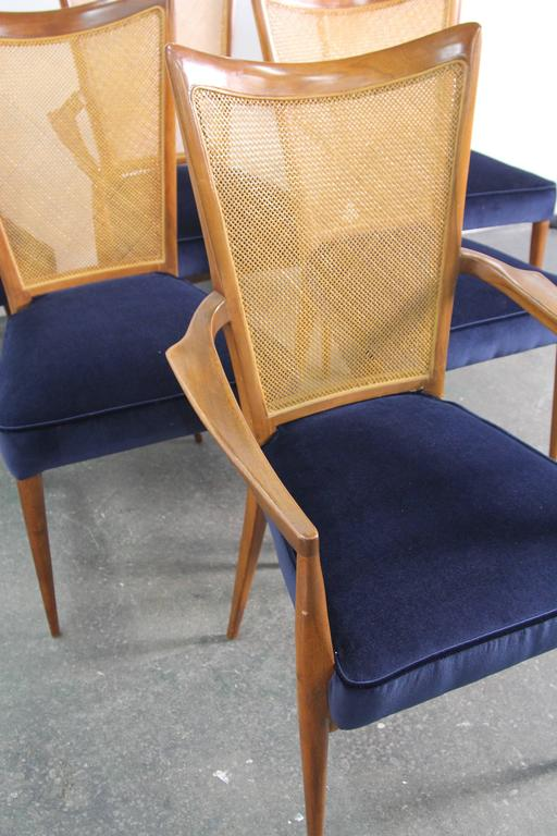 Italian Set of Six Erno Fabry Dining Chairs Newly Upholstered Navy Velvet For Sale