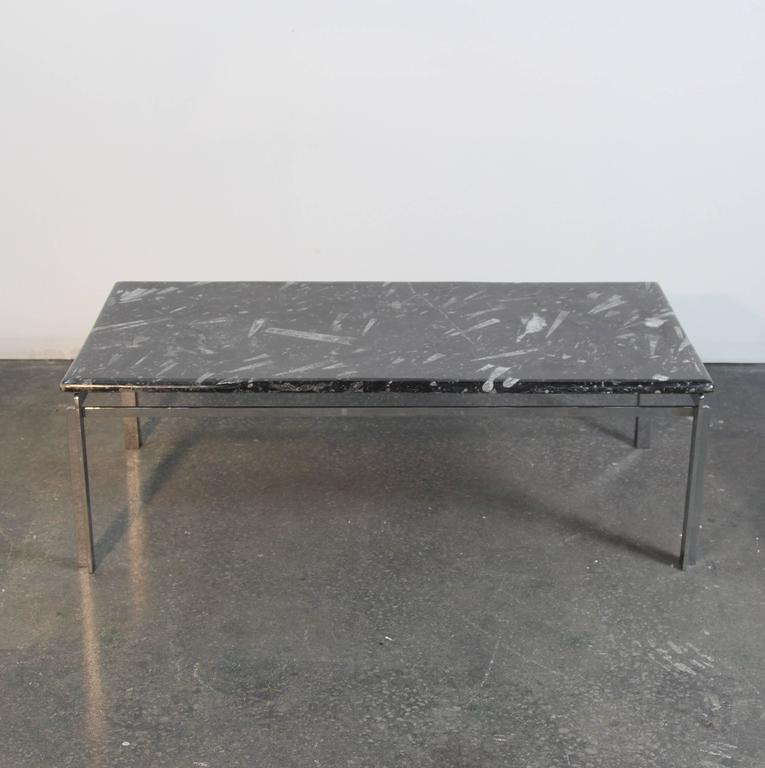 Chrome X Frame Coffee Table: Fossilized Marble-Top Chrome Frame Coffee Table For Sale