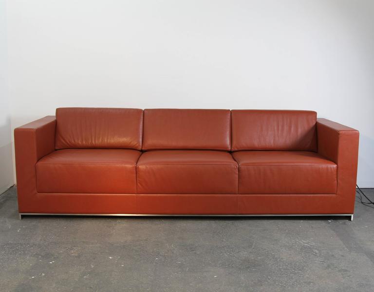 Bernhardt Saddle Leather Three Seat Sofa On Brushed Chrome Frame. Modern,  Square Arm