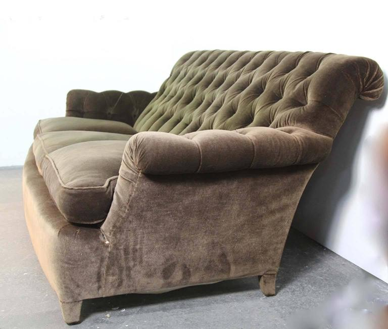 Hollywood Regency Napoleonic Style Brown Tufted Velvet Sofa In Good Condition For Sale In Norwalk, CT