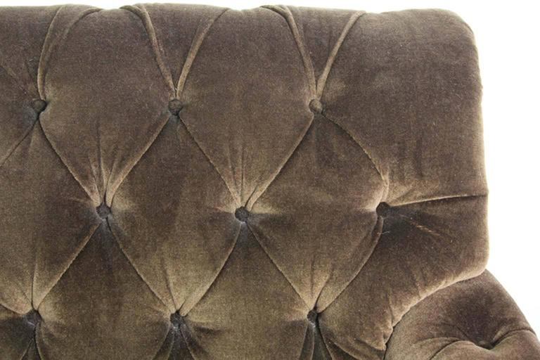 Hollywood Regency Napoleonic Style Brown Tufted Velvet Sofa For Sale 1