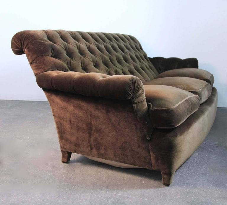 Hollywood Regency Napoleonic Style Brown Tufted Velvet Sofa For Sale 3