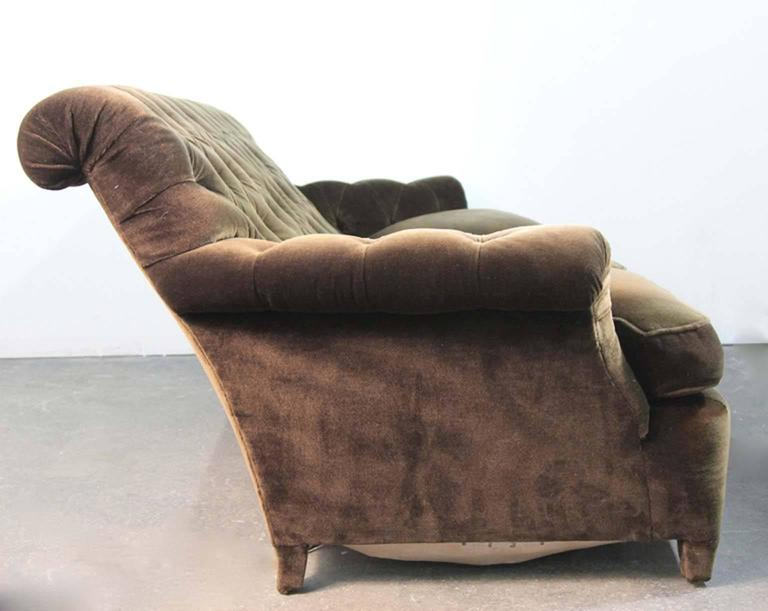 Hollywood Regency Napoleonic Style Brown Tufted Velvet Sofa For Sale 4
