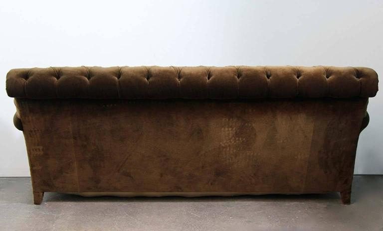 Hollywood Regency Napoleonic Style Brown Tufted Velvet Sofa For Sale 5