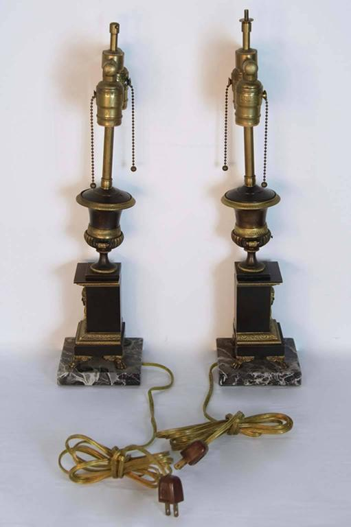 Antique French Empire Bronze Urn Lamps For Sale At 1stdibs