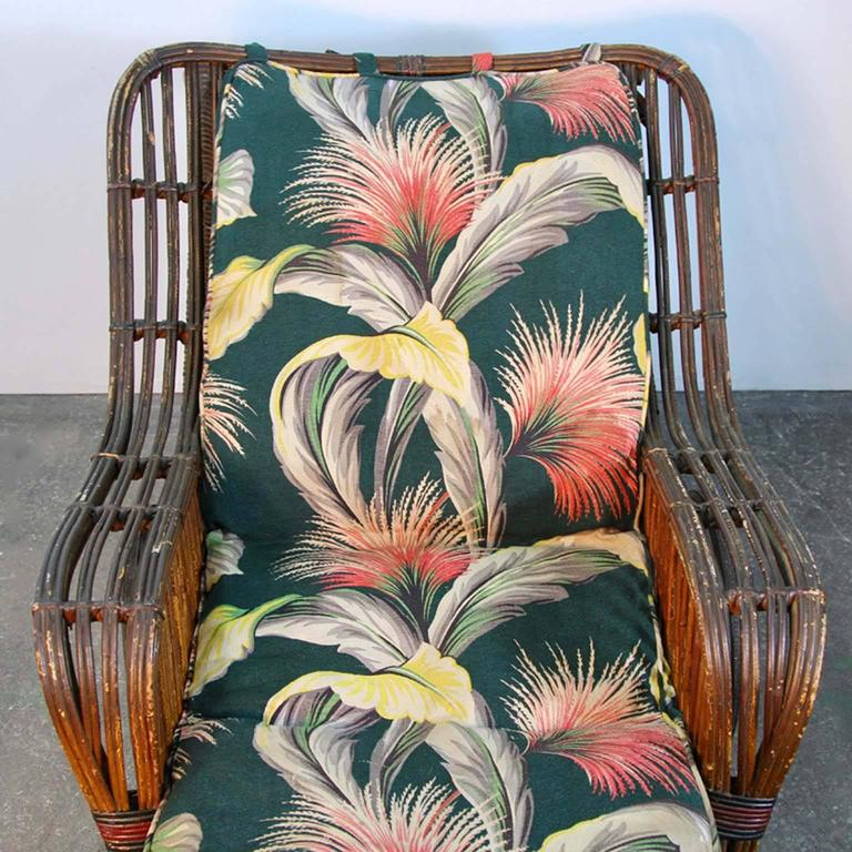 Antique Stick Wicker Chaise Lounge Chair With Barkcloth