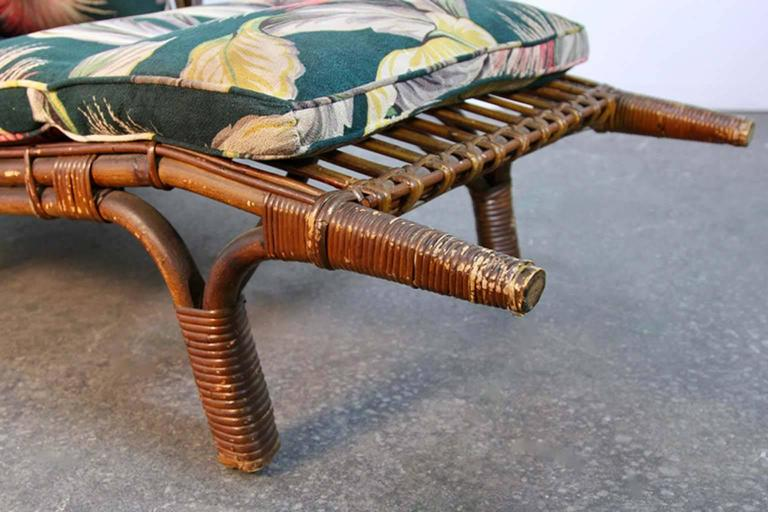 Antique stick wicker chaise lounge chair with barkcloth for Antique chaise for sale