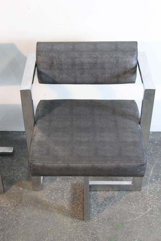 Upholstery Pair of Baughman Style Brushed Steel Floating Square Chairs For Sale