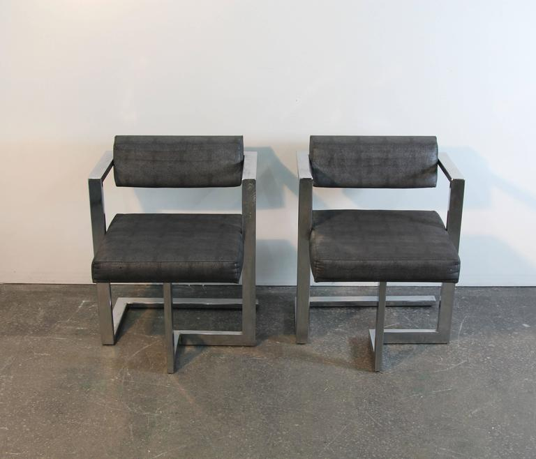 Pair of Baughman Style Brushed Steel Floating Square Chairs For Sale 1