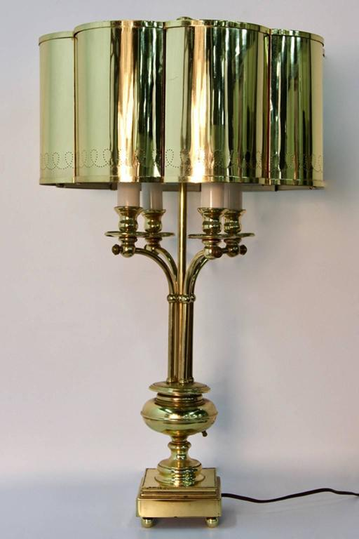 Hollywood Regency Brass Table Lamp in the Manner of Paavo Tynell In Good Condition For Sale In Norwalk, CT