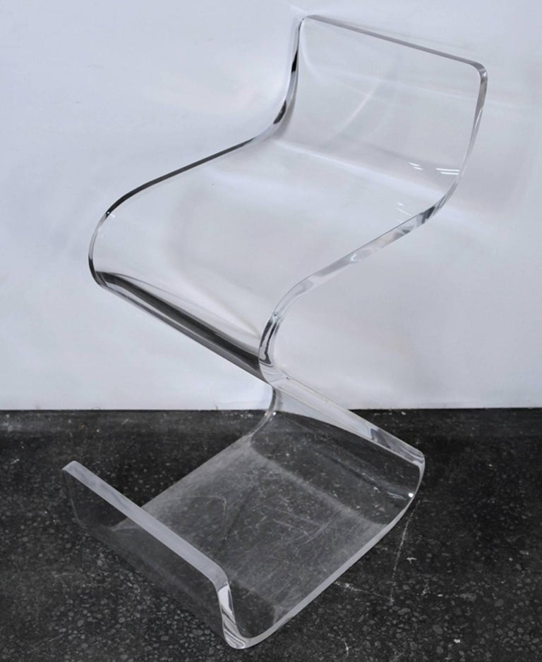Pair of Thick Lucite Z-Stools, Mid-Century For Sale 2