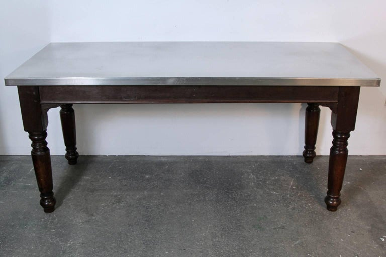 Superb Large English Stainless Steel Top Table For Sale At