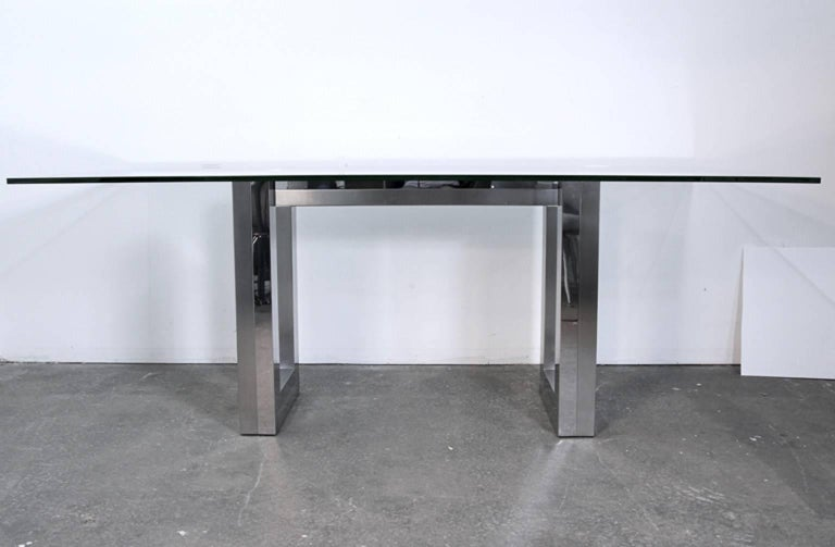Mid-Century Modern Incredible Mid-Century Chrome Base Dining Table in the Style of Paul Evans Ello For Sale