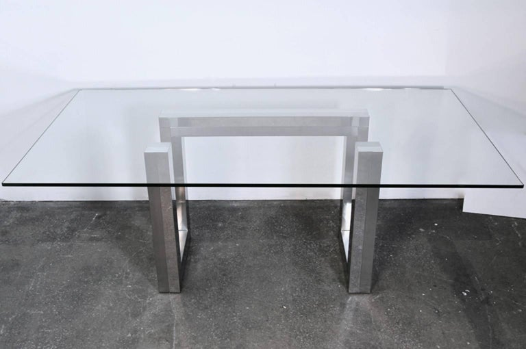 American Incredible Mid-Century Chrome Base Dining Table in the Style of Paul Evans Ello For Sale