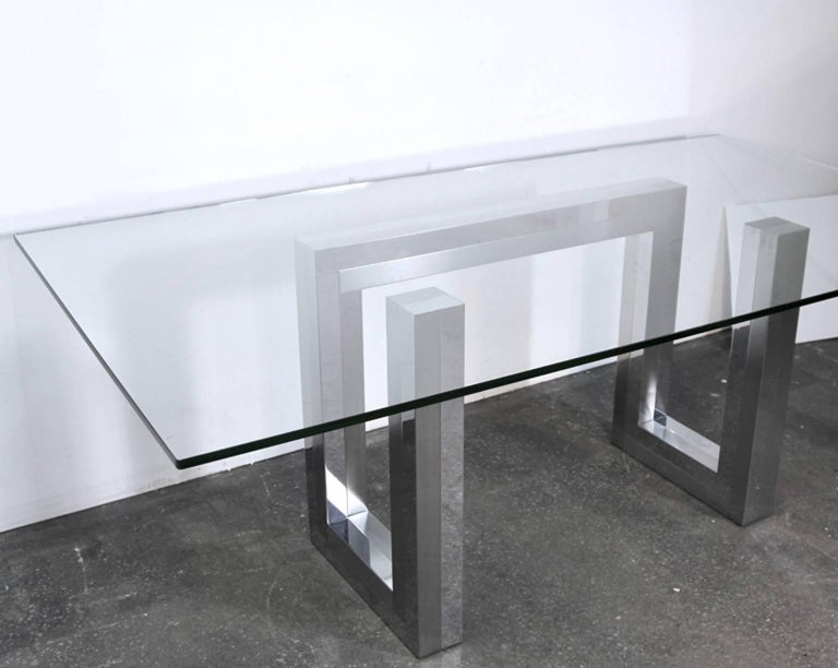 Incredible Mid-Century Chrome Base Dining Table in the Style of Paul Evans Ello 5