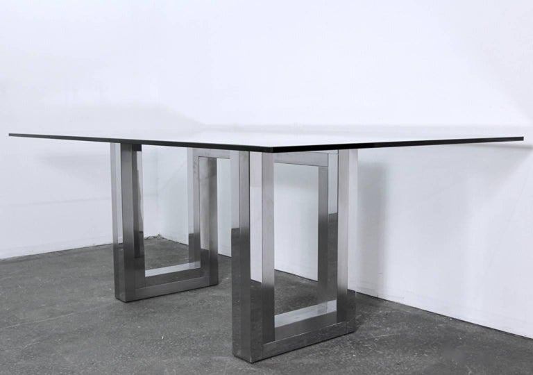 Late 20th Century Incredible Mid-Century Chrome Base Dining Table in the Style of Paul Evans Ello For Sale
