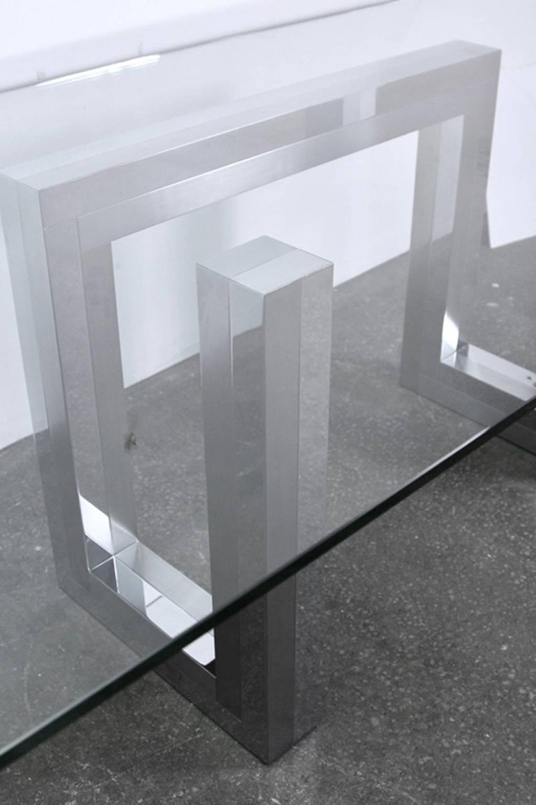 Incredible Mid-Century Chrome Base Dining Table in the Style of Paul Evans Ello For Sale 1