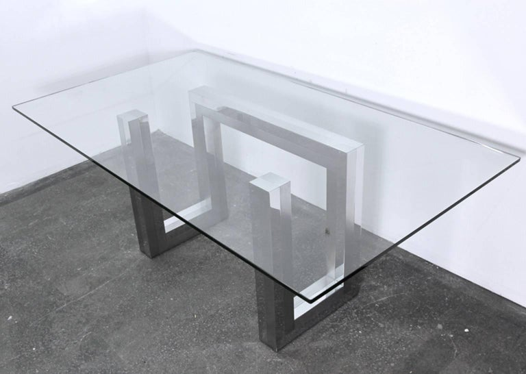 Incredible Mid-Century Chrome Base Dining Table in the Style of Paul Evans Ello For Sale 3
