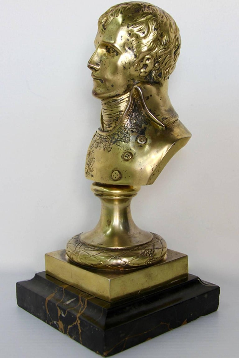 A circa 1850s or earlier silver statue bust of a young general Napoleon Bonaparte. In the 19th century the preferred choice of aristocrats was silver objects of vertu to collect and decorate with to show their status and superior taste. The rarest