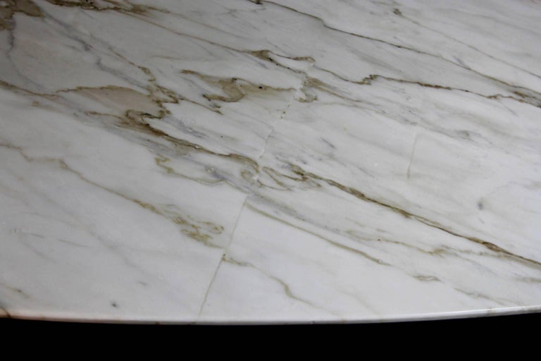 Mid Century Modern Calcutta Marble Top Dining Table With