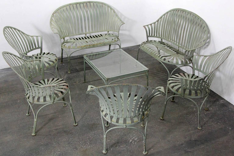 Francois Carre Art Deco Metal Fan Back Patio Set Settee