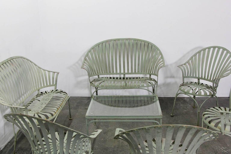 Francois Carre Art Deco Metal Fan Back Patio Set Settee