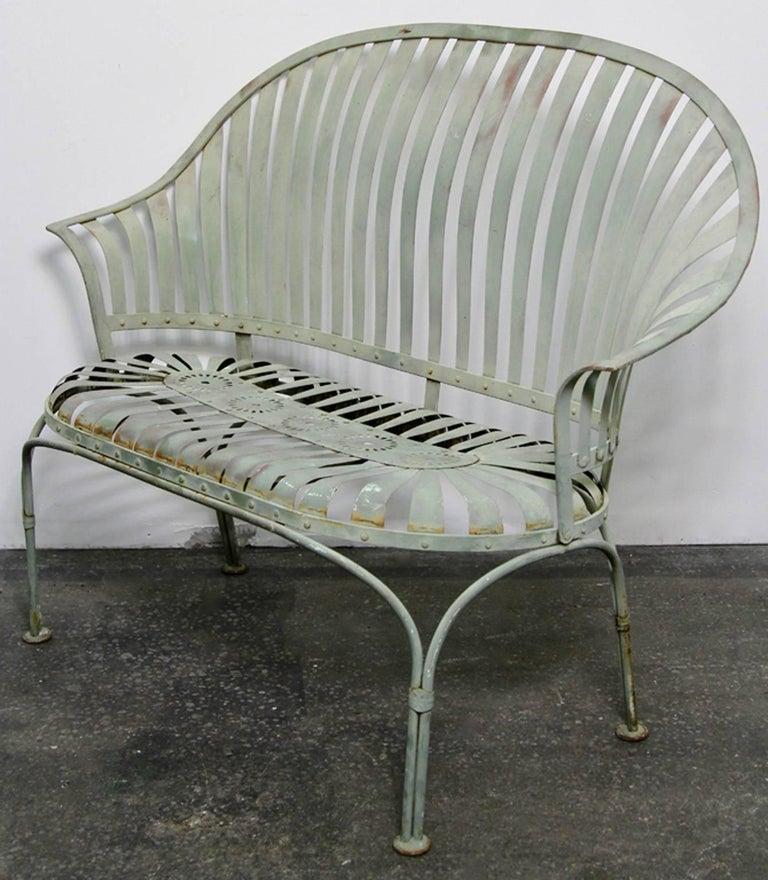 Art Deco Porch: Francois Carre Art Deco Metal Fan Back Patio Set, Settee