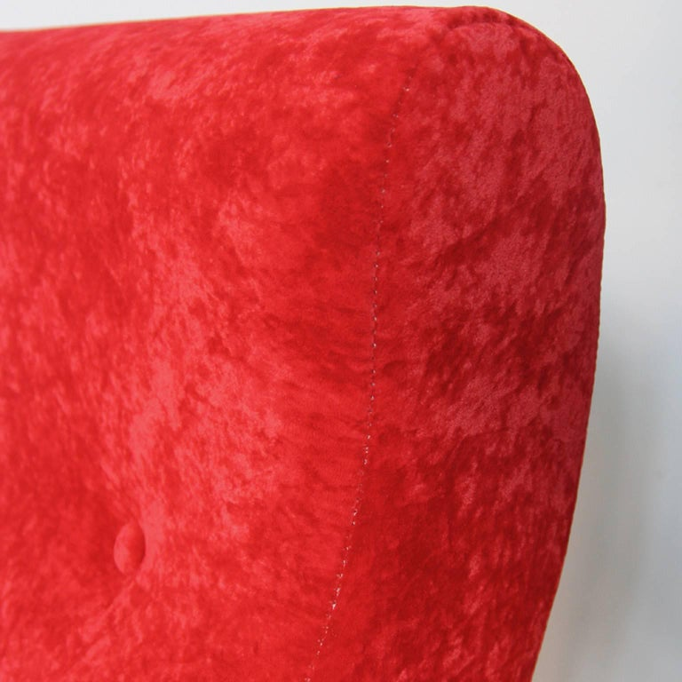 Pair of Italian Style Upholstered Club Chairs in Red Velvet For Sale 3