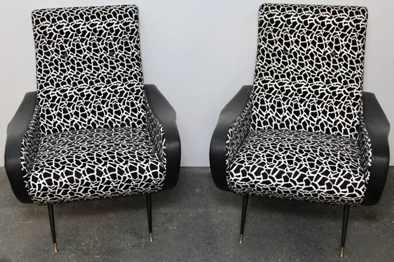 Italian Style Club Chairs Mid-Century Modern For Sale 3